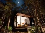 casa modular exterior de noche luna